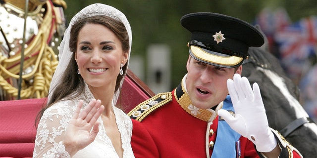 Kate Middleton and Prince William are pictured on their wedding day, April 29, 2011, in London.