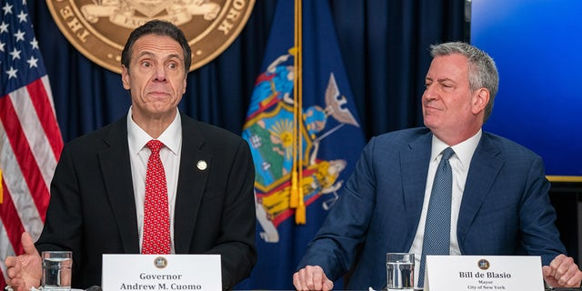 NEW YORK, NY - MARCH 2: New York state Gov. Andrew Cuomo and New York City Mayor Bill DeBlasio speak during a news conference on the first confirmed case of COVID-19 in New York on March 2, 2020 in New York City. (Photo by David Dee Delgado/Getty Images)