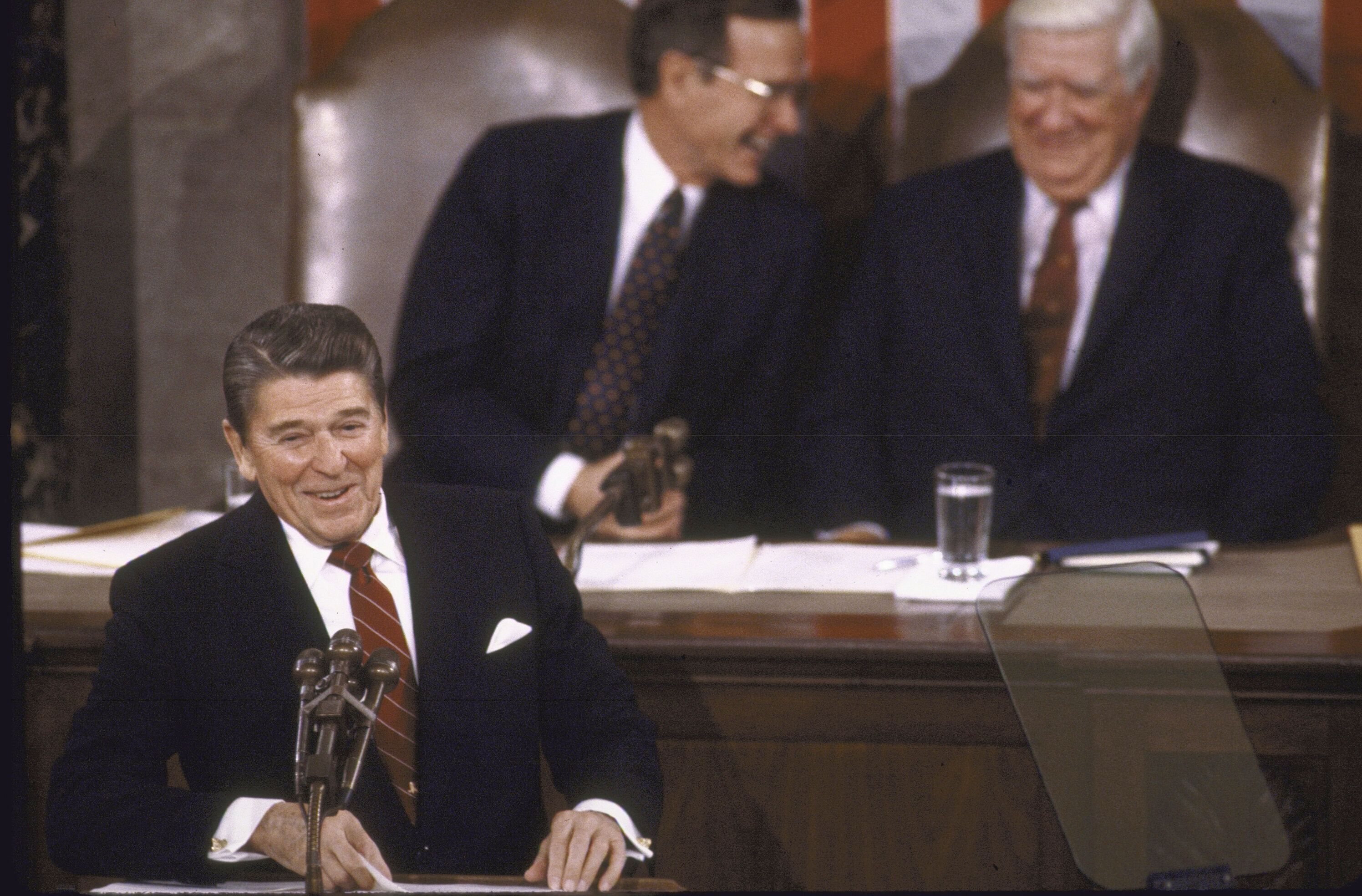 """President Ronald Reagan told Congress that his 1981 budget reconciliation plan to cut taxes and spending would """"put the natio"""
