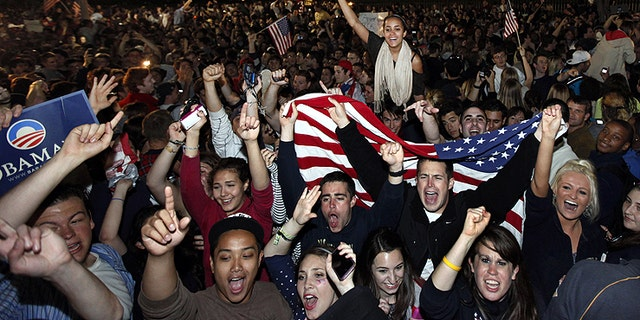 May 2, 2011: Crowds gathers outside the White House in Washington to celebrate after President Obama announced the death of Usama bin Laden.