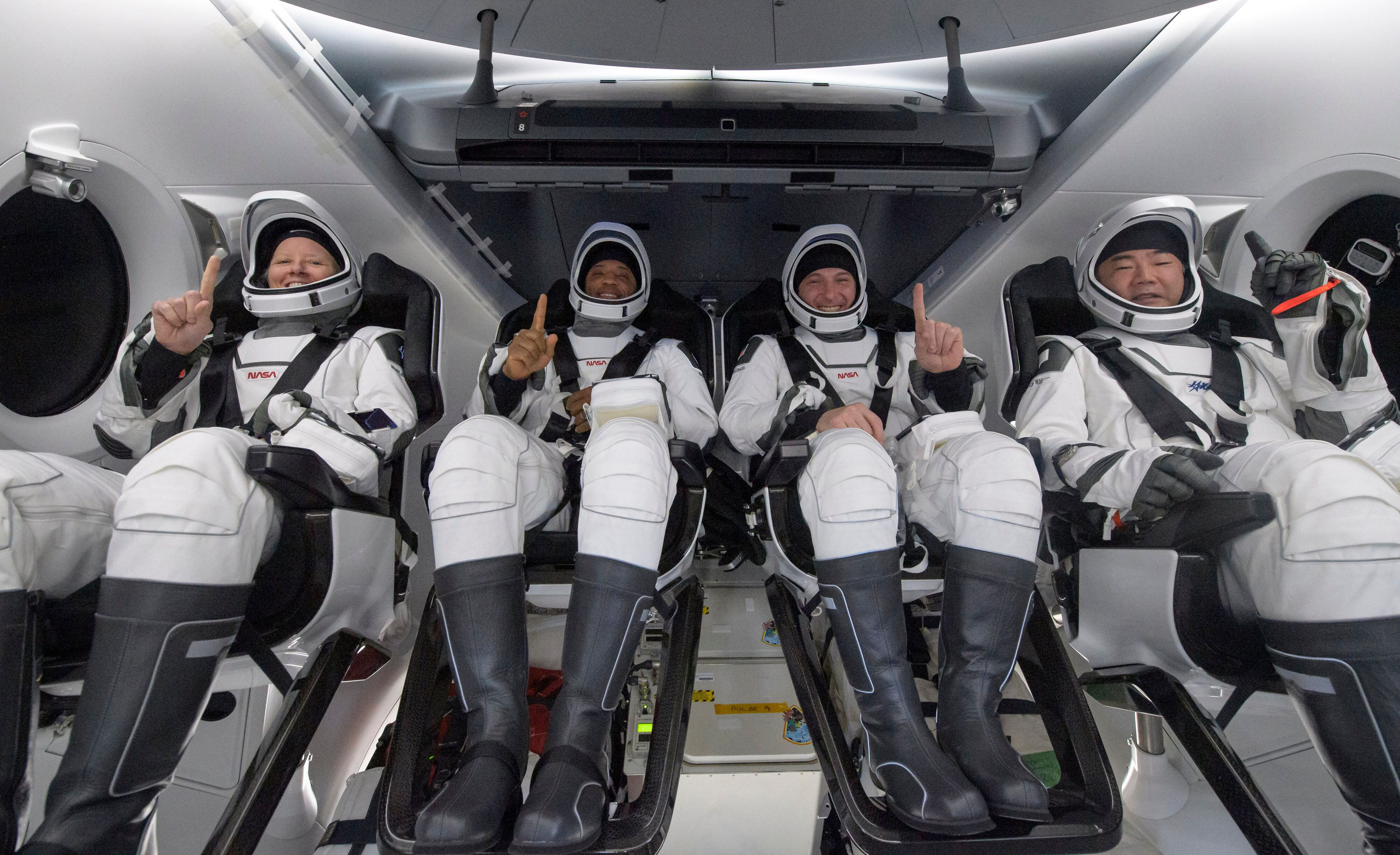 PANAMA CITY, FL. - MAY 02: In this NASA handout, NASA astronauts Shannon Walker, left, Victor Glover, Mike Hopkins, and Japan
