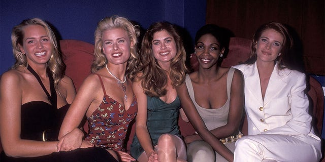 (L-R) Model Ashley Montana, model Vendela, model Kathy Ireland, model Roshumba Williams and model Angie Everhart attend the Party to Celebrate the 29th Edition of Sports Illustrated's Swimsuit Issue, circa 1992.