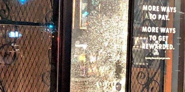 Windows were damaged downtown on May Day. (Portland Police Bureau)