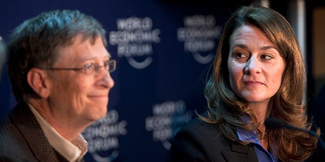 Bill Gates, left, and Melinda French Gates, co-chairmen of the Bill & Melinda Gates Foundation, hold a press conference on day three of the 2010 World Economic Forum (WEF) annual meeting in Davos, Switzerland, on Friday, Jan. 29, 2010. (Chris Ratcliffe/Bloomberg via Getty Images)