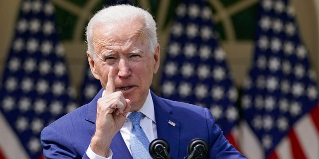 President Biden speaks about gun violence prevention in the Rose Garden at the White House, Thursday, April 8, 2021, in Washington. Biden has proposed a massive $6 trillion in federal spending in three separate plans in his first 100 days. (AP Photo/Andrew Harnik)