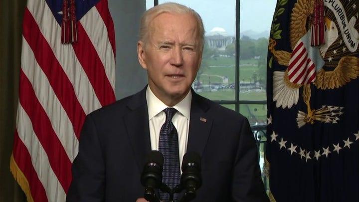 Biden struggles through Afghanistan troop withdrawal speech