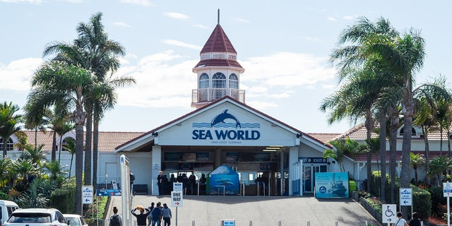 Entrance to Sea World amusement park at Main Beach on the Gold Coast, a popular tourist attraction.