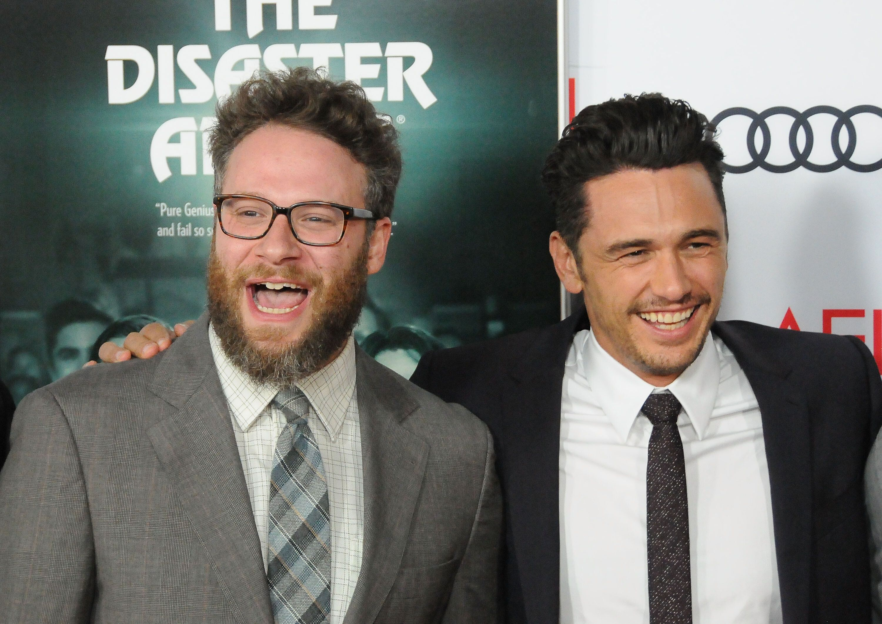 """Actors Seth Rogen and James Franco starred together in the 2017 movie """"Disaster Artist,"""" which Franco also directed. The two"""