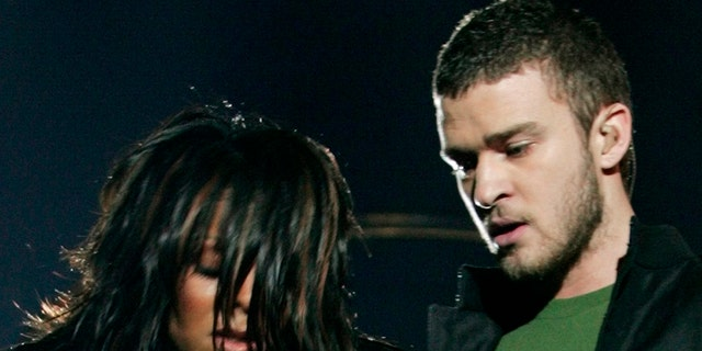 Justin Timberlake and the notorious 'wardrobe malfunction' with Janet Jackson during the 2004 Super Bowl halftime show, seen here.