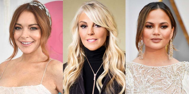 Linday Lohan's mother Dina Lohan (center) responded to a decade-old tweet from Teigen referencing her daughter self-harming.
