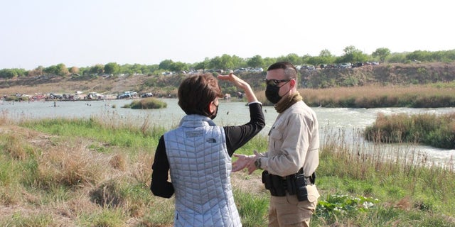 Rep. Young Kim, R-Calif., along the U.S. border with Mexico