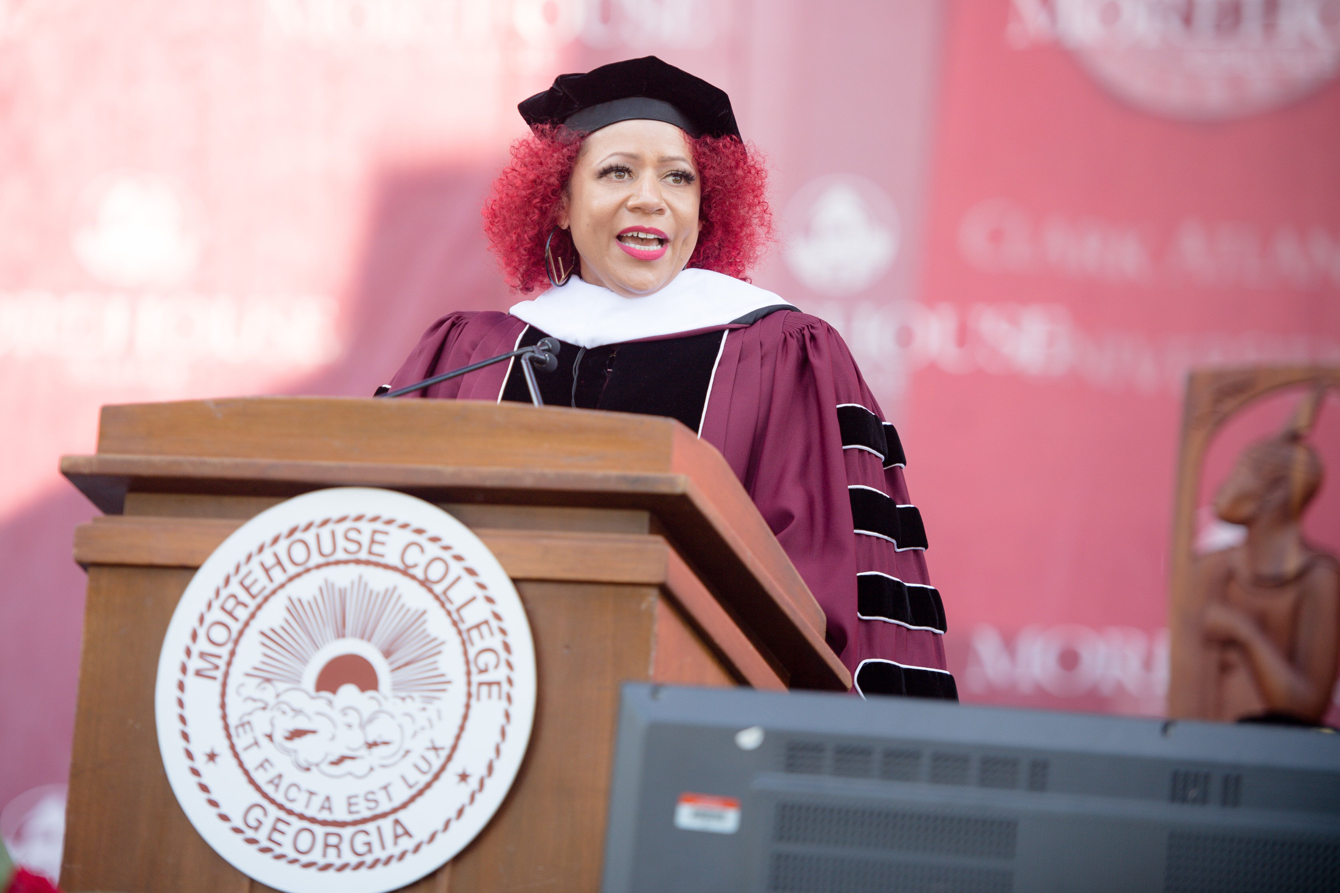 Nikole Hannah-Jones speaking at the commencement ceremony for Morehouse College on May 16, 2021, in Atlanta.