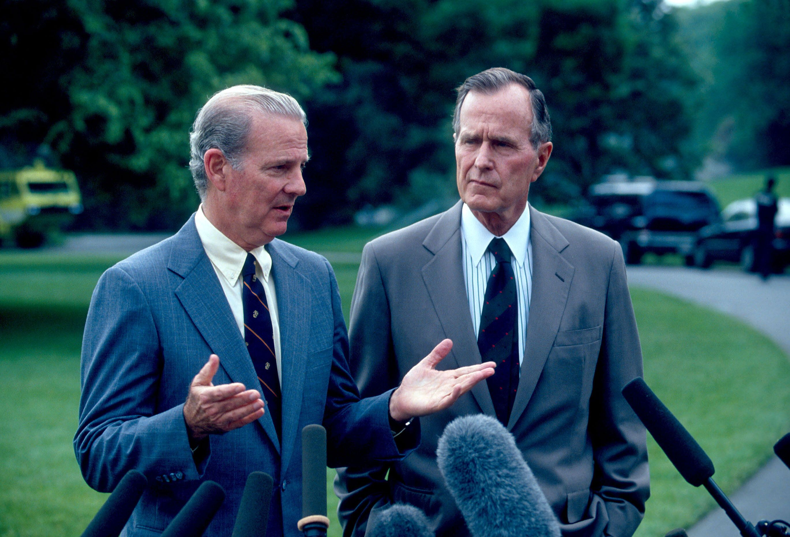 Secretary of State James A. Baker III and President George H.W. Bush speak to the press in May 1991. After the first Gulf War