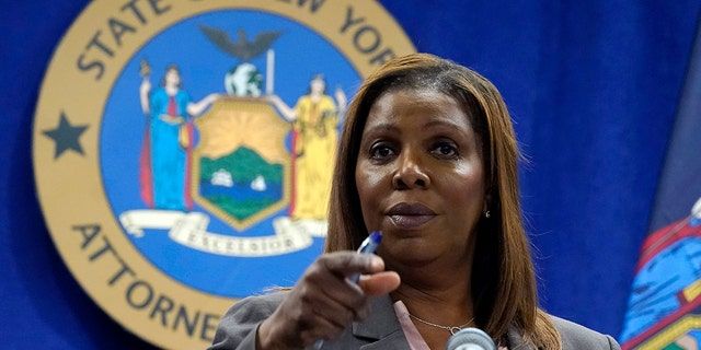 New York Attorney General Letitia James addresses a news conference at her office, in New York, Friday, May 21, 2021. (Associated Press)