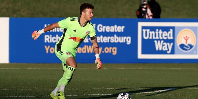 Goalkeeper Luca Lewis of New York Red Bulls II plays the ball during a game between North Carolina FC and New York Red Bulls II at City Stadium in Richmond, Virginia, on Sept. 30, 2020. (Getty Images)