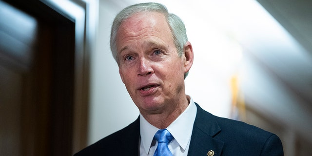 UNITED STATES - DECEMBER 16: Chairman Ron Johnson, R-Wis., talks with a reporter before the Senate Homeland Security and Governmental Affairs Committee hearing titled Examining Irregularities in the 2020 Election, in Dirksen Building on Wednesday, December 16, 2020. Johnson is demanding answers from the CDC and HHS on the influence teachers unions had on new school reopening guidelines. (Photo By Tom Williams/CQ-Roll Call, Inc via Getty Images)