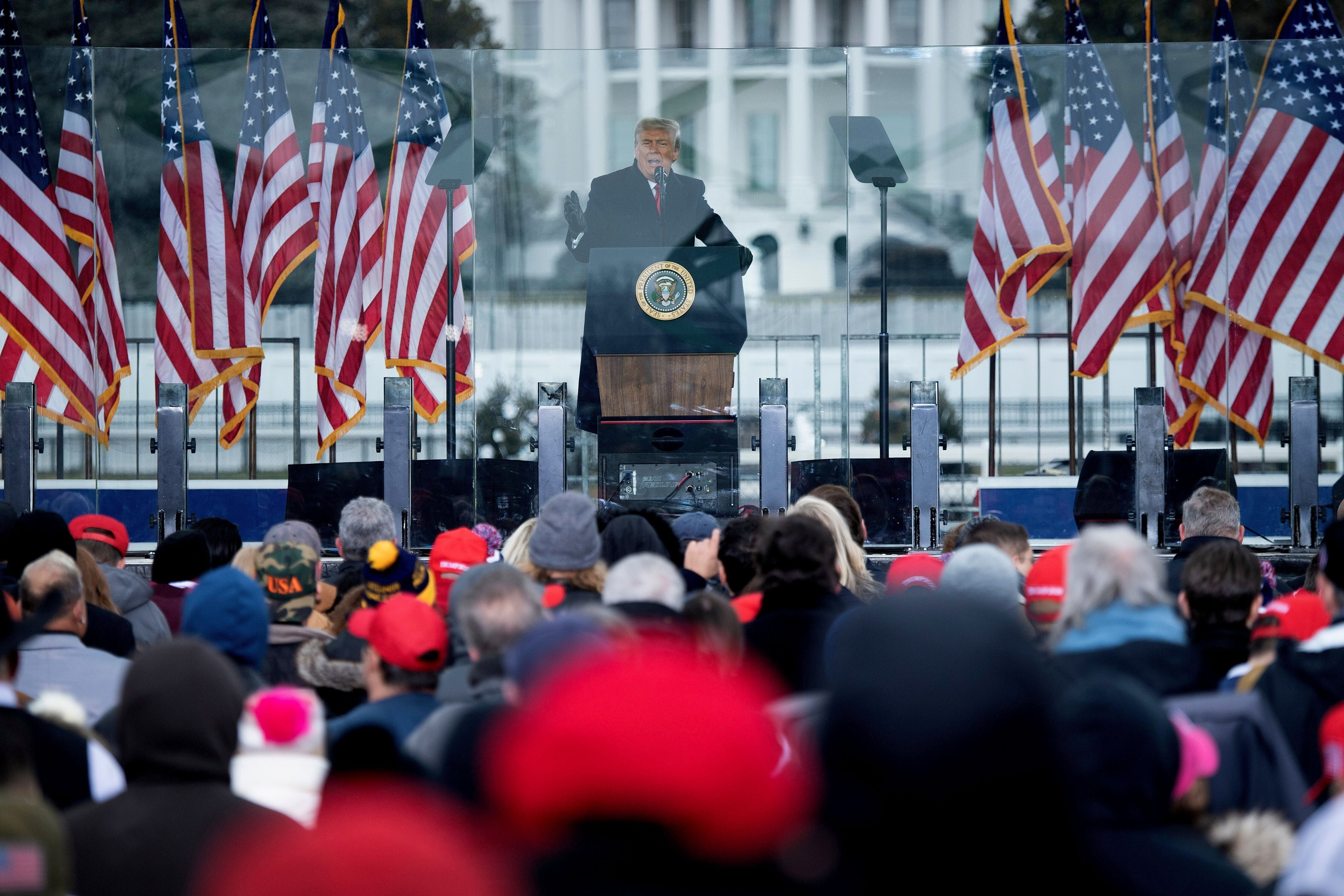 President Donald Trump speaks to supporters at a rally near the White House on Jan. 6, shortly before some stormed the Capito
