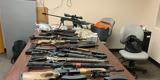 Officials seized 3,520 rounds of ammunition and 16 firearms, including high-powered fully automatic rifles, shotguns, handguns and a .50 caliber rifle, the DPS said.