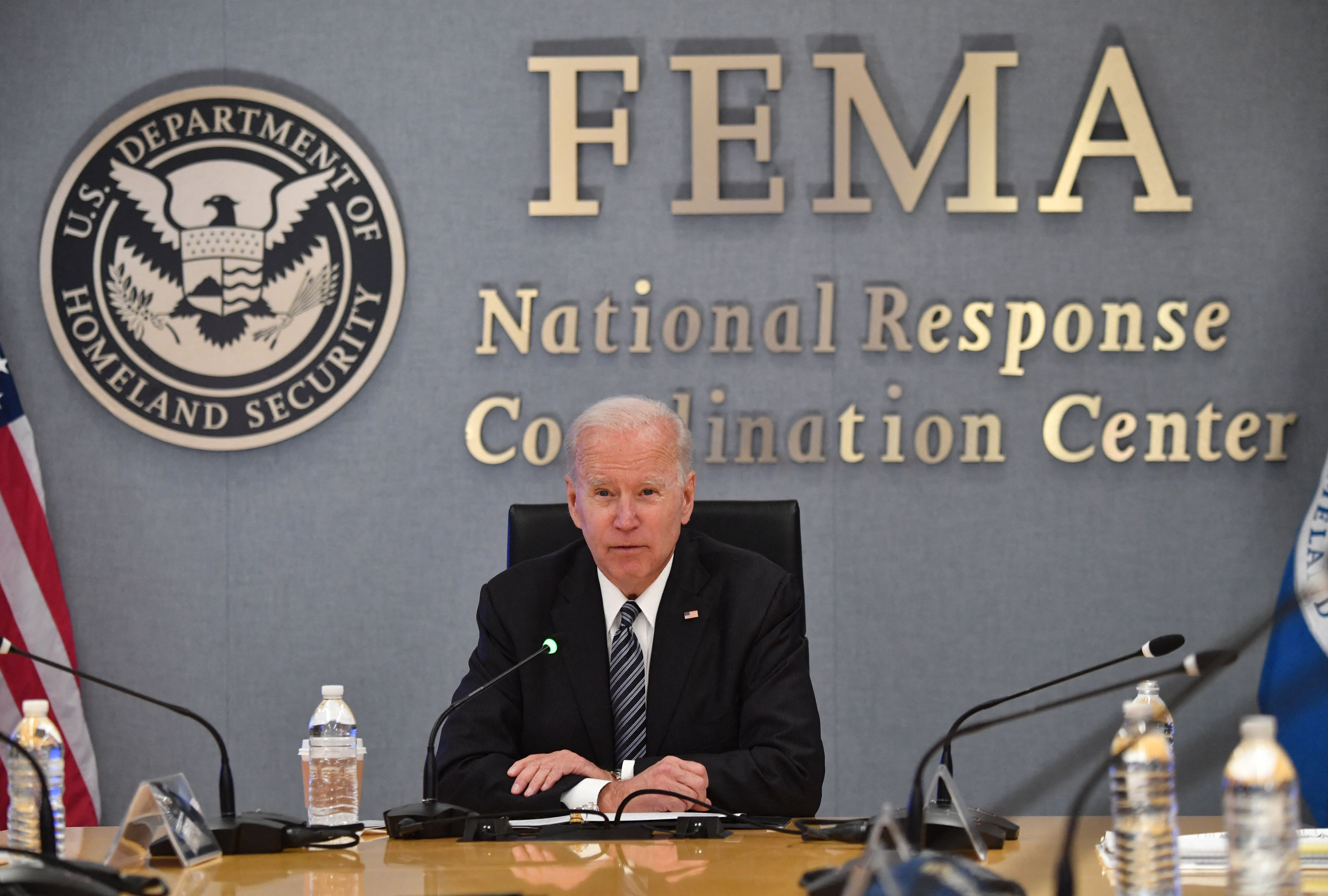 President Joe Biden participates in a briefing on the upcoming Atlantic hurricane season at Federal Emergency Management Agen