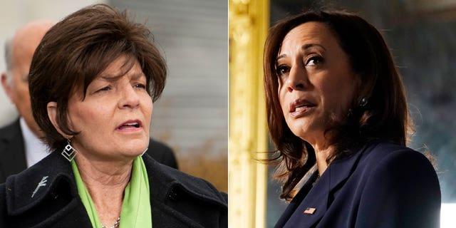 U.S. Rep. Yvette Herrell, R-N.M., left, and Vice President Kamala Harris. (Reuters/Associated Press)