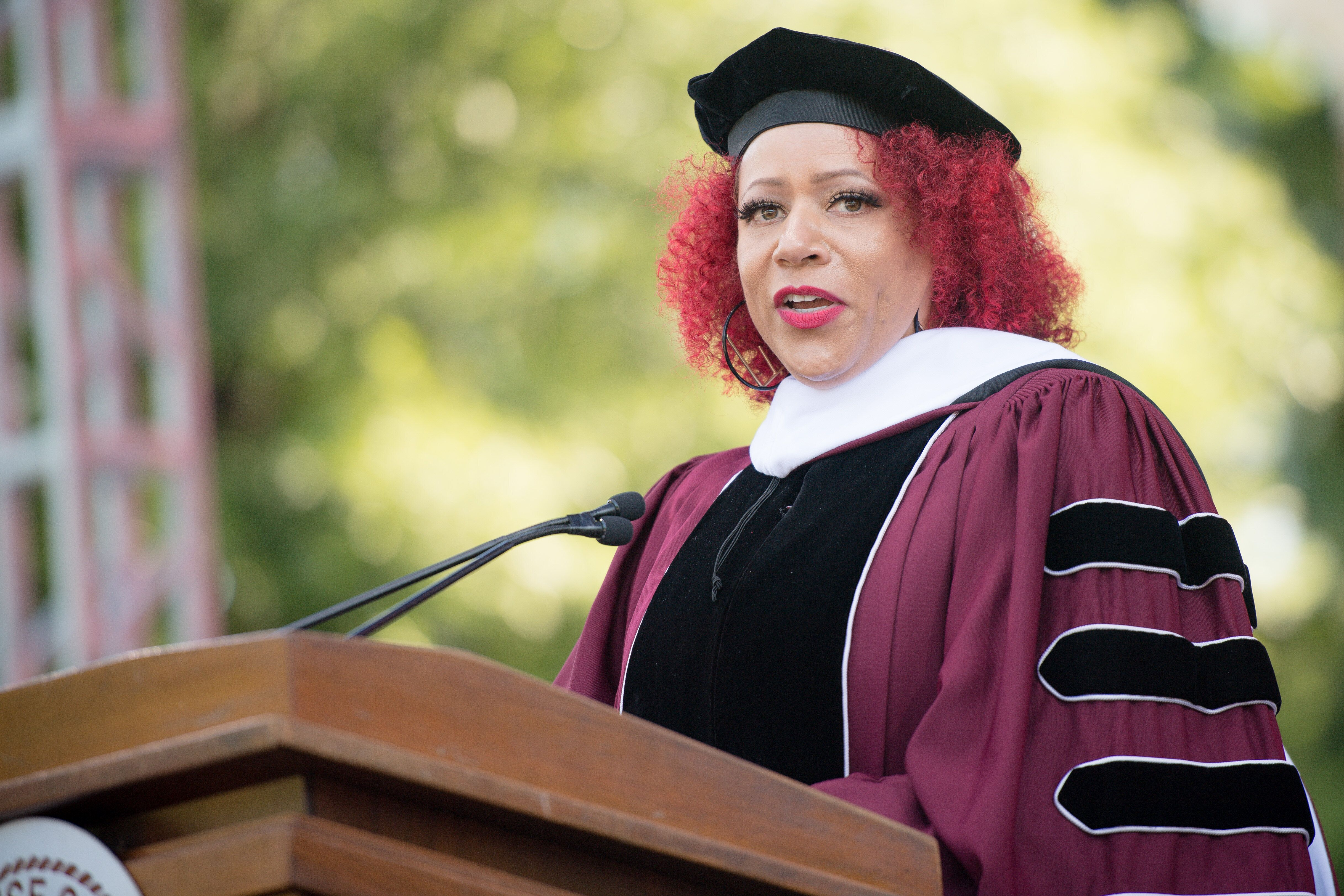 Nikole Hannah-Jones speaks during the 137th Commencement at Morehouse College on May 16.