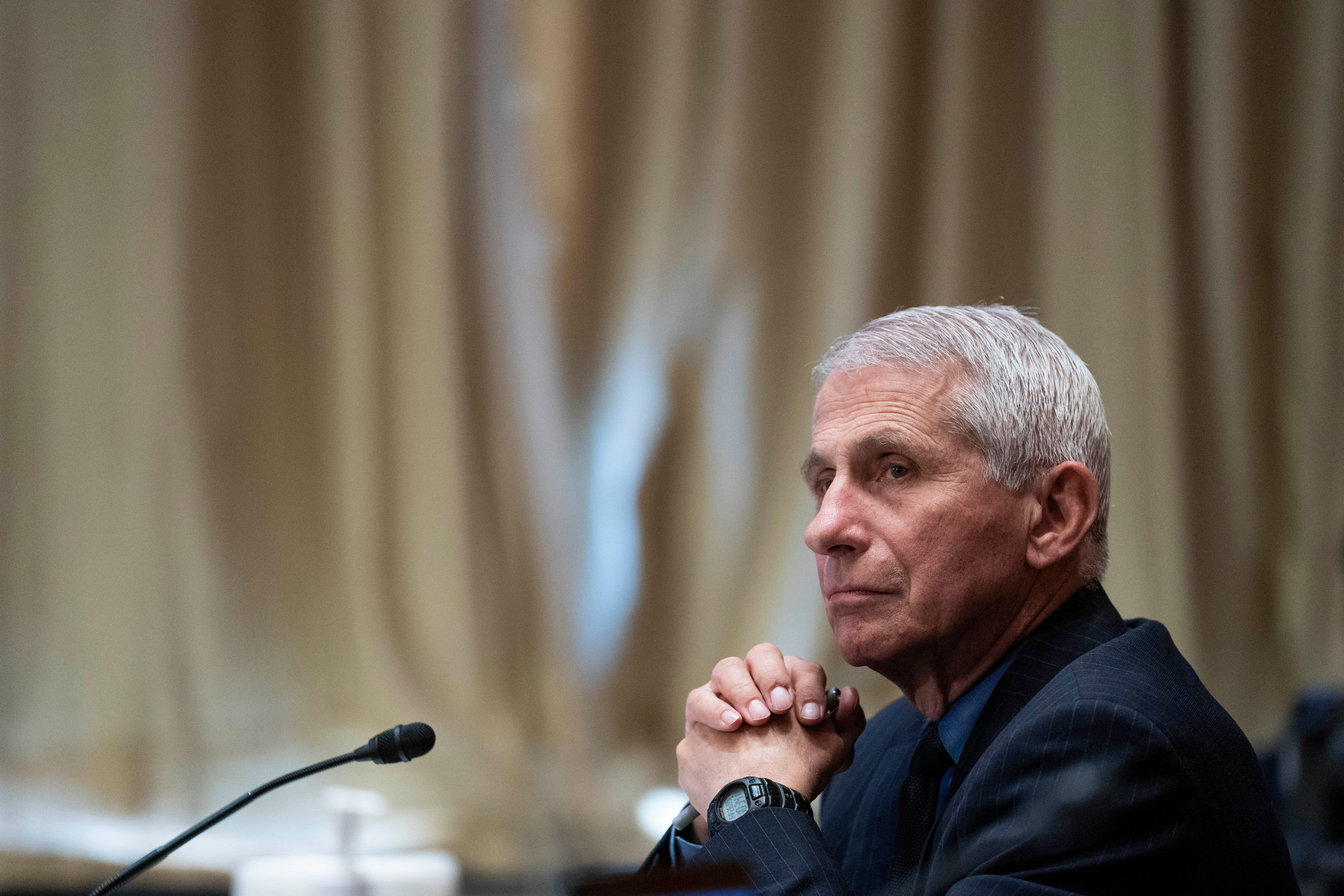 Dr. Anthony Fauci, director of the National Institute of Allergy and Infectious Diseases, listens during a Senate Appropriati