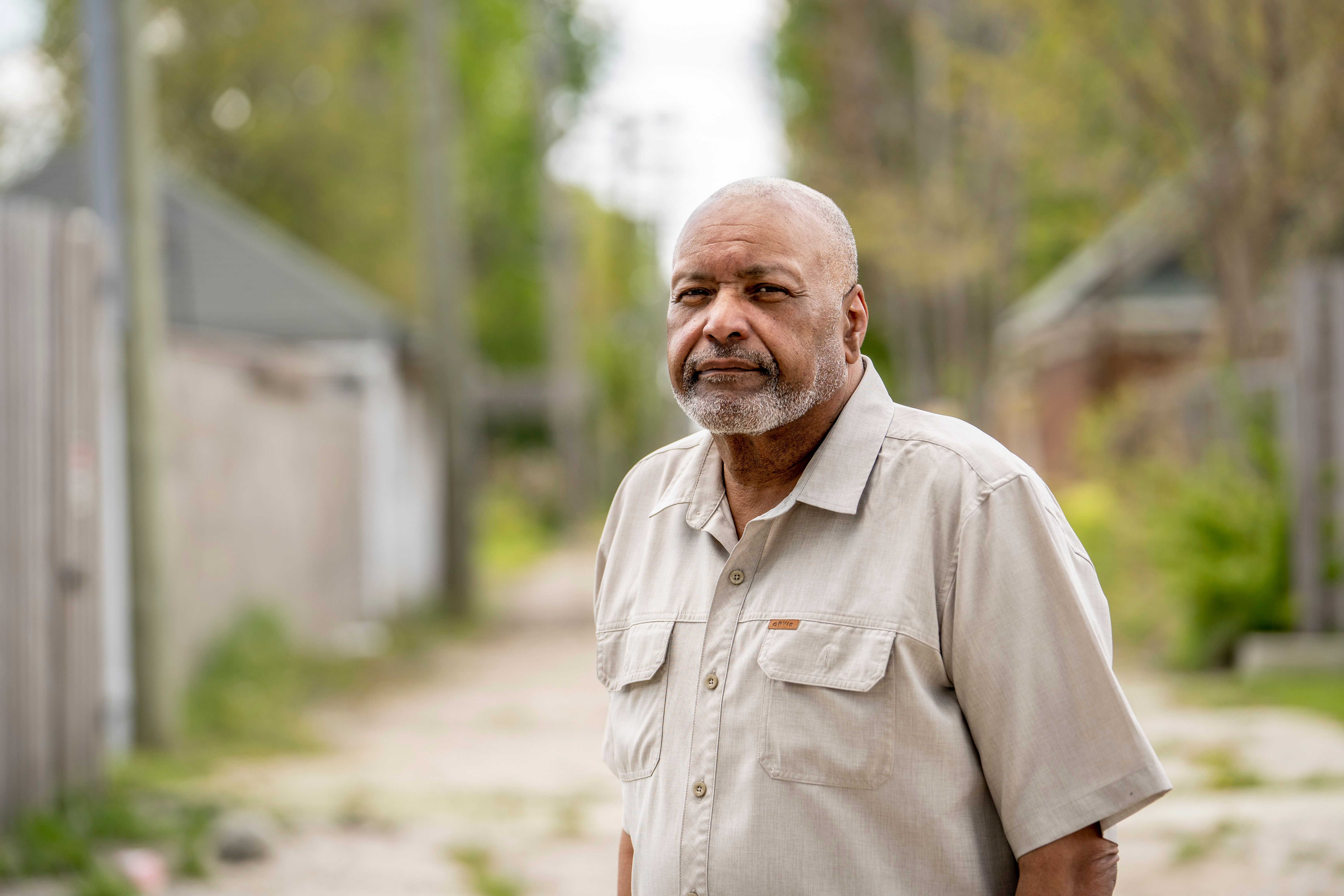 Phil Talbert in one of the neighborhoods where he did community outreach for the COVID-19 vaccine in Detroit, May 14, 2021. T