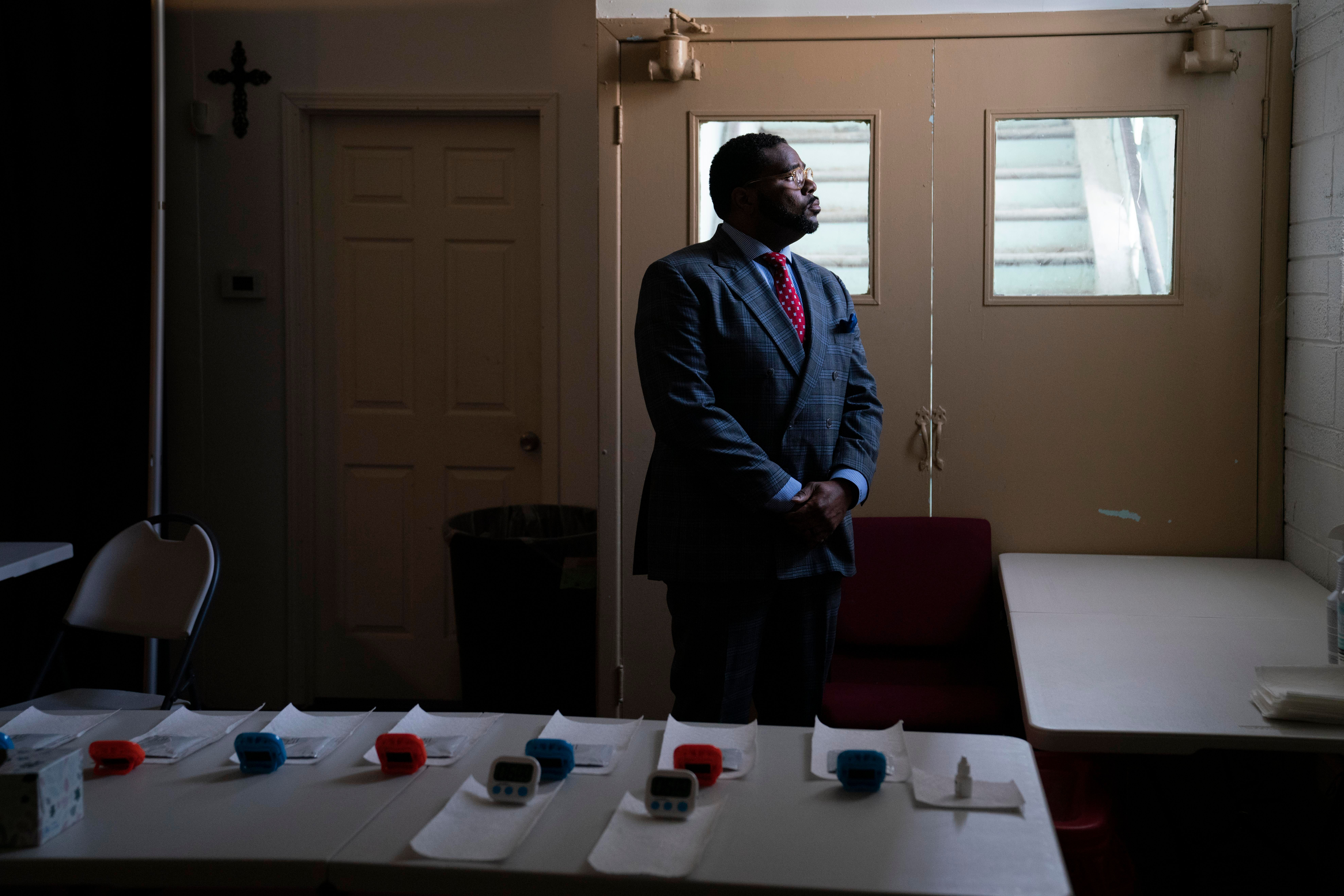 Rev. Charles Williams II in the area of his Detroit church currently being used for COVID-19 testing, May 14, 2021.
