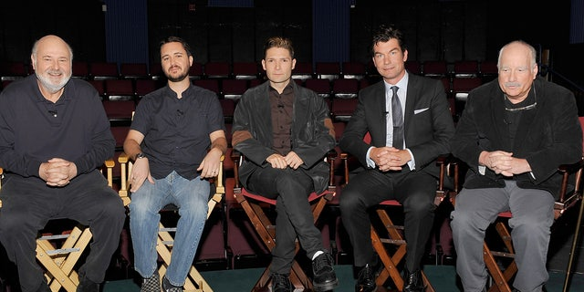 """(L-R)Director """"Stand By Me"""" Rob Reiner, actors Wil Wheaton, Corey Feldman, Jerry O'Connell and Richard Dreyfuss attend the 25th Anniversary interview with the director and cast of """"Stand By Me' at the Falcon Theater on March 16, 2011 in Toluca Lake, California."""