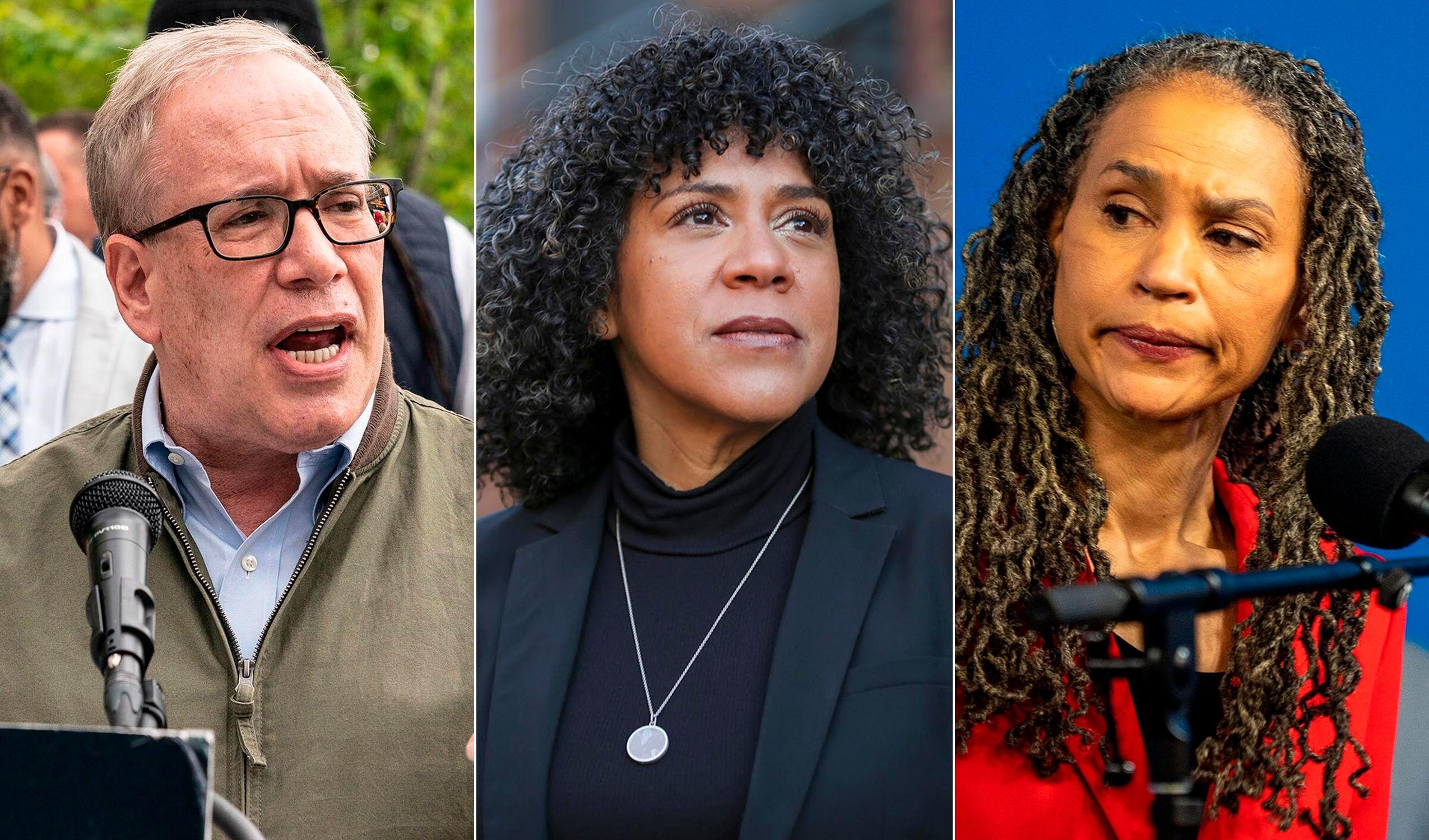 Progressive mayoral candidates Scott Stringer, Dianne Morales (center) and Maya Wiley. Despite New York City's progressive tu