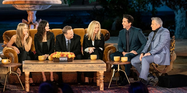 """The cast of """"Friends"""" reunited for an HBO special, which included Jennifer Aniston, Courteney Cox, Matthew Perry, Lisa Kudrow, David Schwimmer and Matt Leblanc. (HBO Max/Terence Patrick)"""