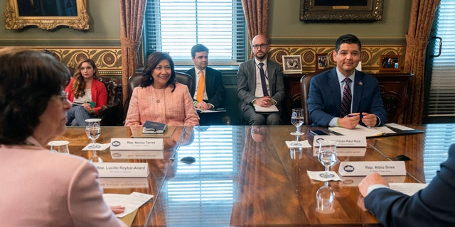 Clockwise from left, Rep. Norma Torres, D-Calif., Rep. Lucille Roybal-Allard, D-Calif., Congressional Hispanic Caucus (CHC) Chair Rep. Raul Ruiz, D-Calif., and Rep. Albio Sires, D- N.J., attend a meeting with Vice President Kamala Harris with the CHC, in her ceremonial office, Monday, May 17, 2021, on the White House complex in Washington. (AP Photo/Jacquelyn Martin)