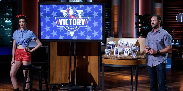 Cade Courtley, a former Navy SEAL from Austin, Texas, appears on 'Shark Tank' to pitch his patriotic coffee business Victory Coffees in June 2016. (Michael Desmond/Walt Disney Television via Getty Images)