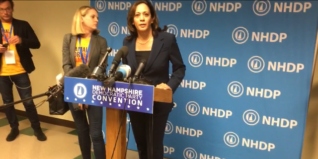 Democratic presidential candidate Sen. Kamala Harris of California, at the New Hampshire Democratic Party convention, in Manchester, NH on Sept. 7, 2019