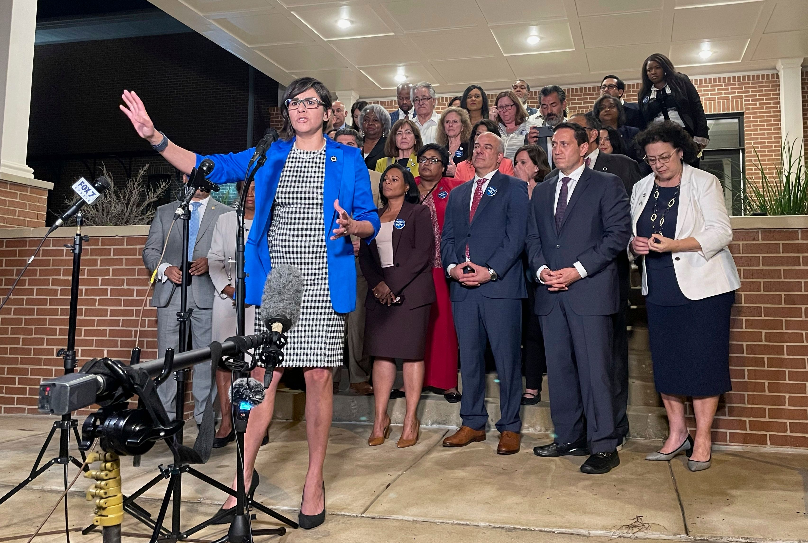 Texas state Rep. Jessica Gonzales speaks during a news conference in Austin, Texas, on early Monday, May 31, 2021, after Hous
