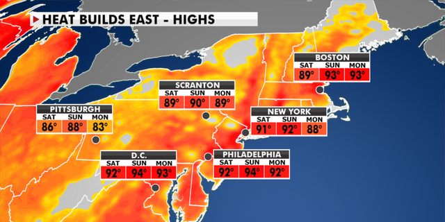 Expected temperatures in the Northeast this weekend. (Fox News)