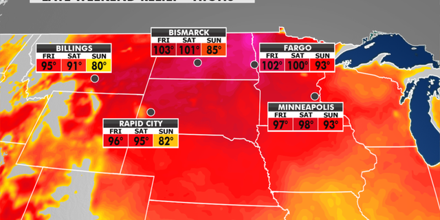 Temperatures in the Northern Plains will ease over the weekend. (Fox News)