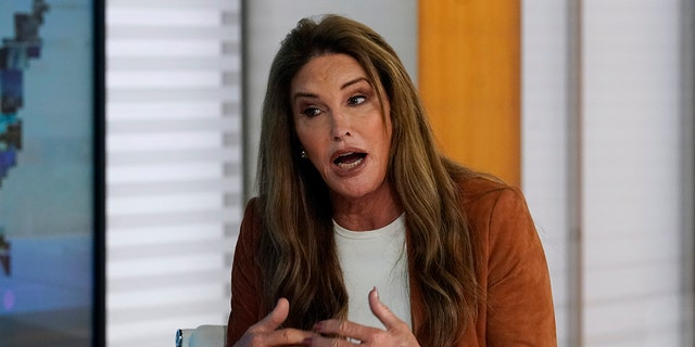 """Caitlyn Jenner, a Republican candidate for California governor, is interviewed on the Fox News Channel's """"America's Newsroom"""" television program, Wednesday, May 26, 2021, in New York. (Associated Press)"""