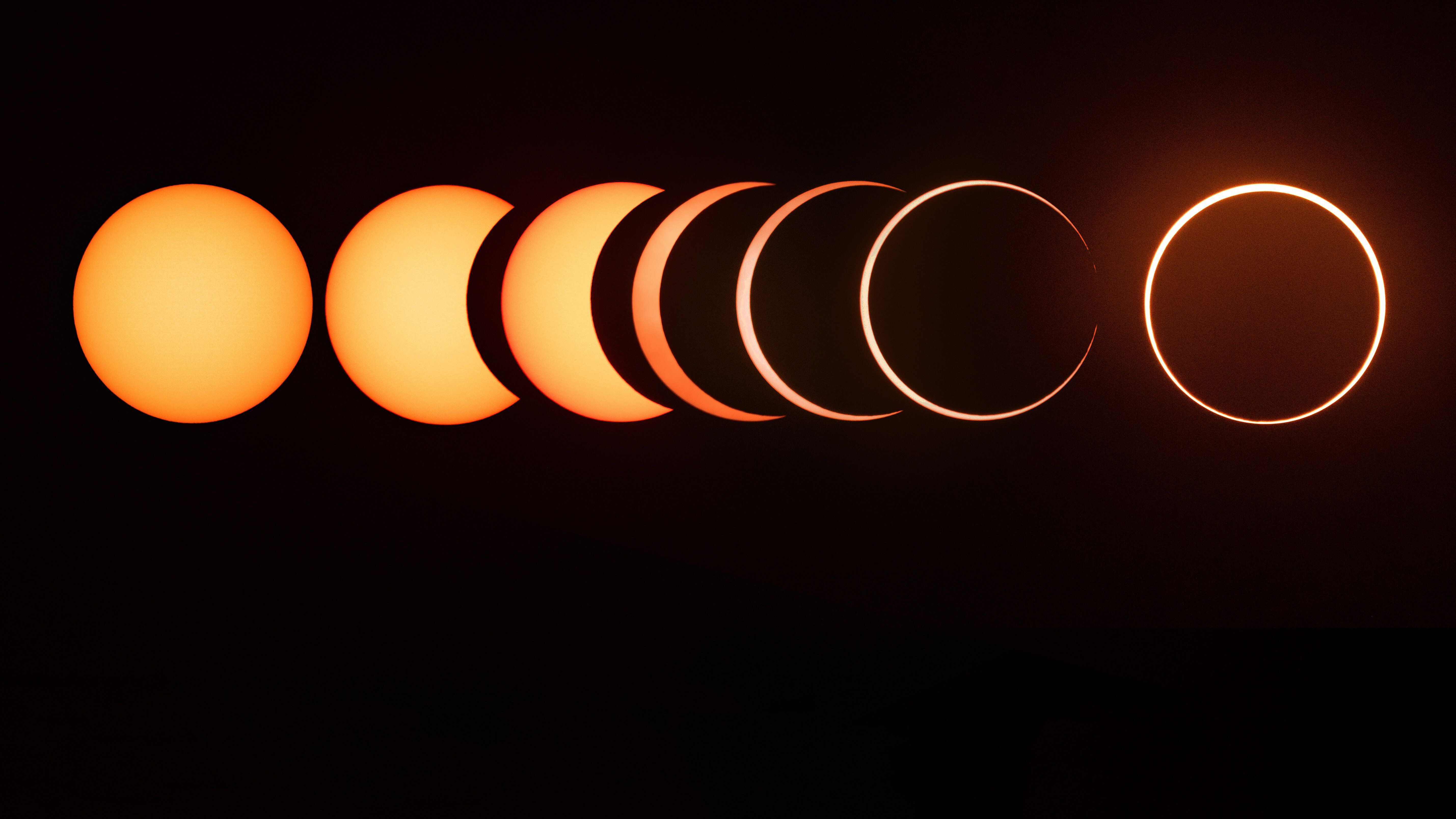 The entire sequence of a 2019 annual solar eclipse.