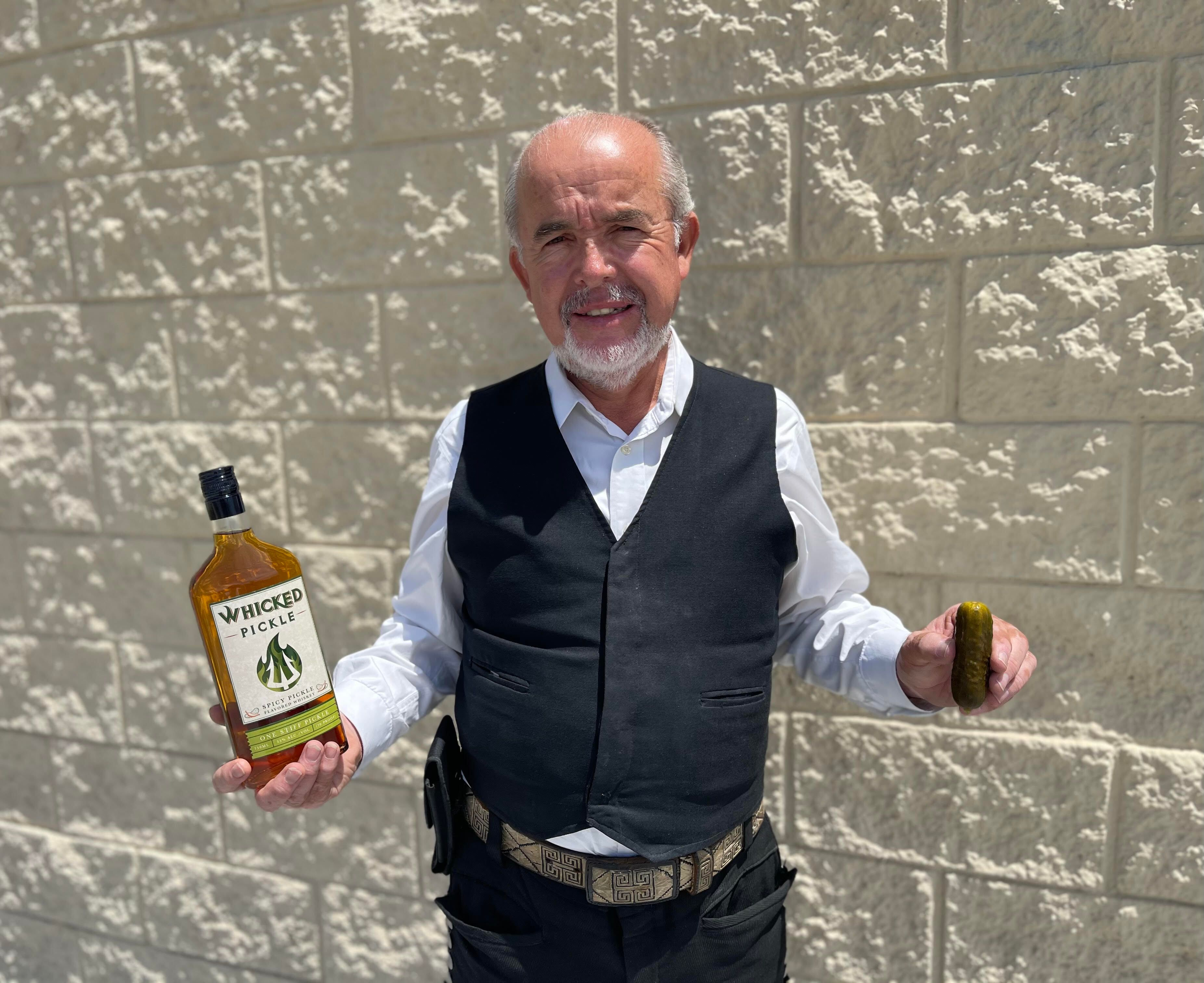 """Want to take a shot at giving your dad whiskey? This <a href=""""https://shotsbox.com/product/whicked-pickle-spicy-pickle-flavor"""