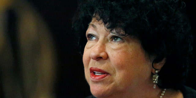 In this Aug. 17, 2019 file photo, U.S. Supreme Court Associate Justice Sonia Sotomayor, speaks at the Mississippi Book Festival in Jackson, Miss. Sotomayor, joined by Justices Brett Kavanaugh and Stephen Breyer, said Monday that the Supreme Court should defer to Congress while it considers whether women should be made to register for the draft. (AP Photo/Rogelio V. Solis)