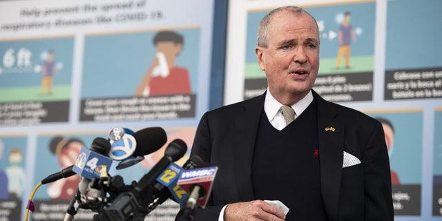 Phil Murphy, New Jersey's governor, speaks at a news conference after touring the New Jersey Convention and Exposition Center COVID-19 vaccination site in Edison, N.J. on Friday, Jan. 15, 2021.(Mark Kauzlarich/Bloomberg via Getty Images)
