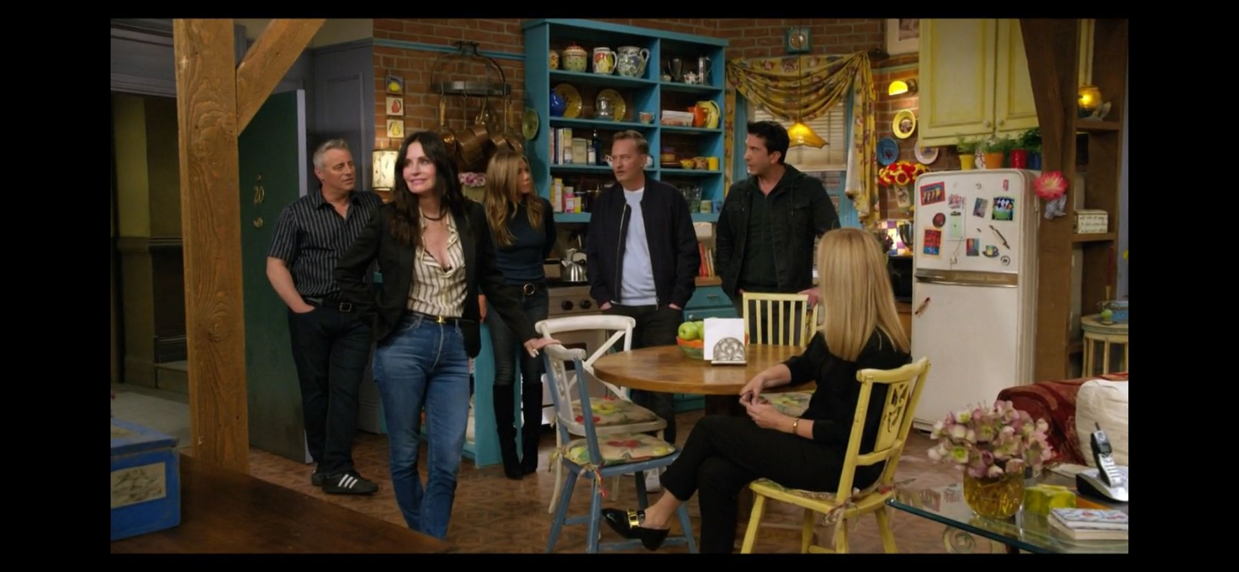 """The cast of """"Friends"""" during the opening moments of the reunion"""