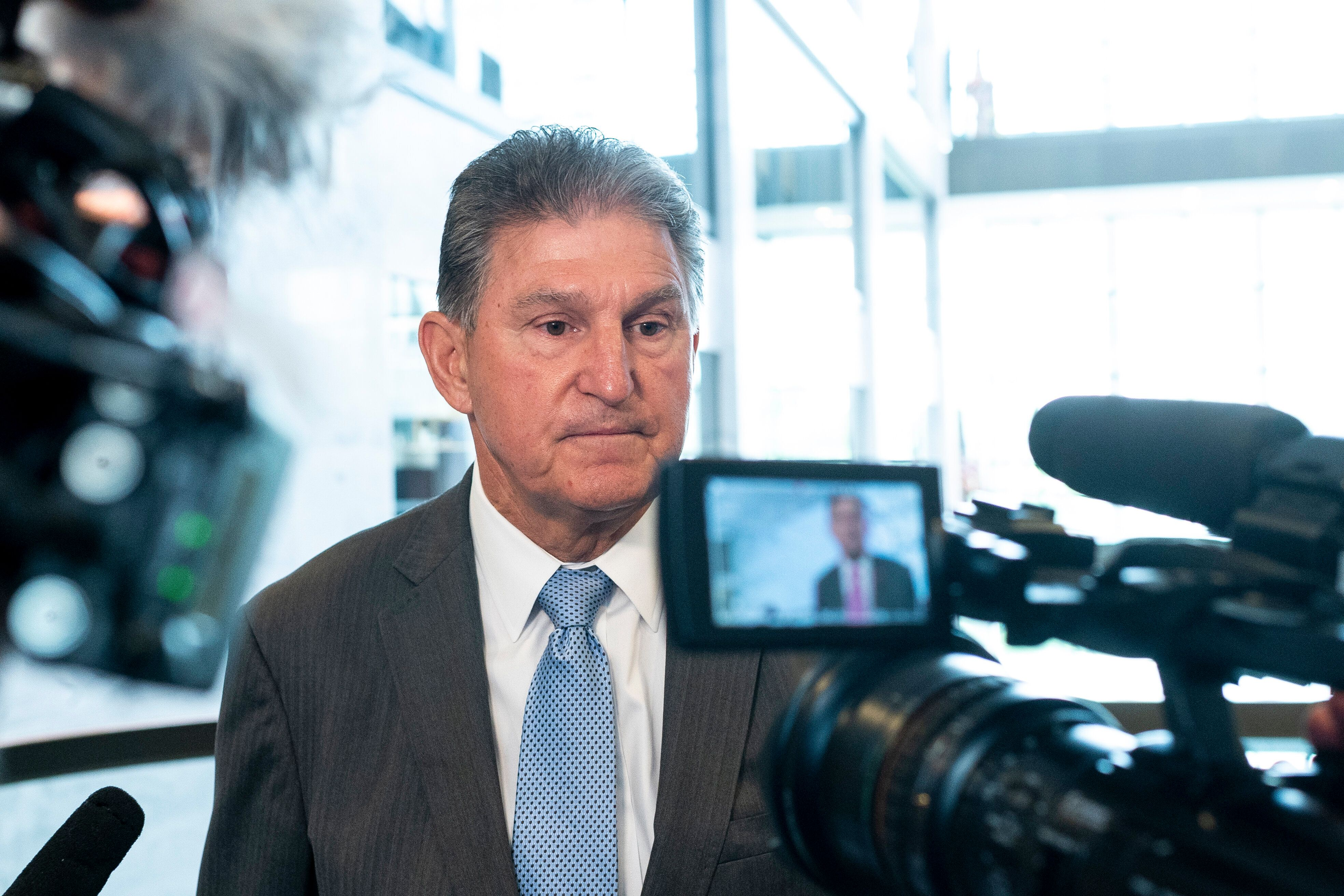 Sen. Joe Manchin, D-W. Va., speaks with reporters after his virtual meeting with the leaders of several civil rights organiza