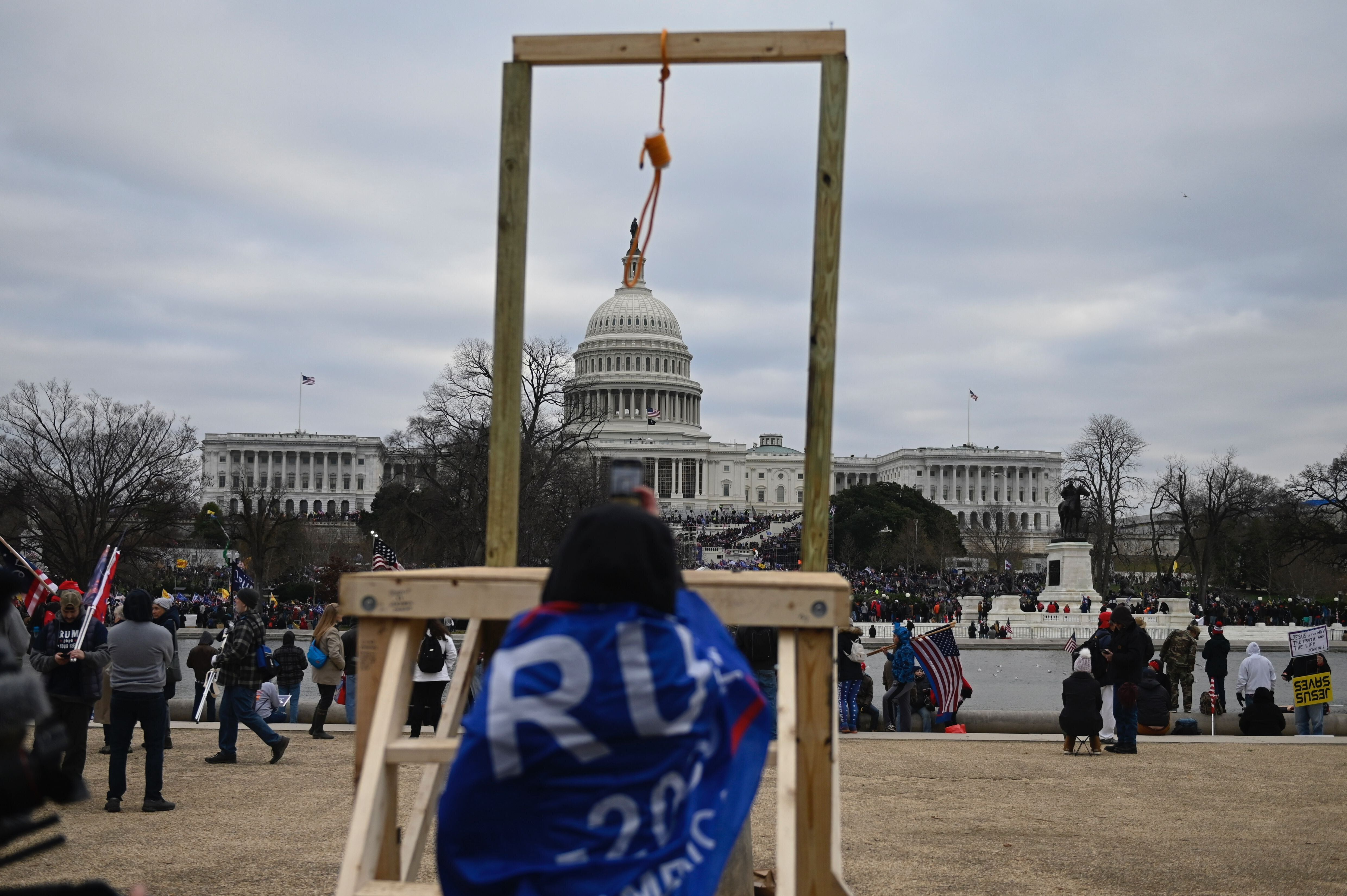 Supporters of then-President Donald Trump erected a gallows in front of the U.S. Capitol on Jan. 6, 2021, breached security a