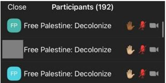 """A second screenshot provided to Fox News shows that many of the 192 total participants on the Zoom call changed their names to """"Free Palestine: Decolonize,"""" therefore hiding their identities in the chat section."""