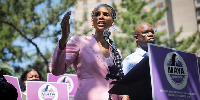 Democratic candidate for New York City mayor Maya Wiley speaks while campaigning with U.S. Rep. Jamaal Bowman, D-NY, right, at the Co-op City housing complex in the Bronx borough of New York City, June 7, 2021. (REUTERS/Mike Segar)