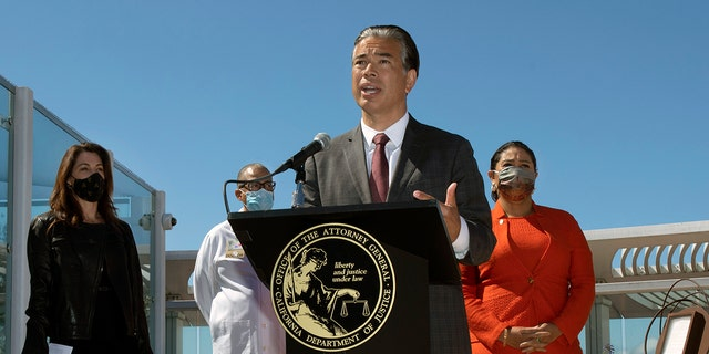 California Attorney General Rob Bonta announces that the state is appealing a recent decision by a federal judge to overturn a ban on assault weapons during a news conference in San Francisco, Thursday, June 10, 2021. He was joined by Robyn Thomas of the Giffords Law Center, Dr. Andre Campbell of San Francisco General Hospital and San Francisco Mayor London Breed. (Associated Press)