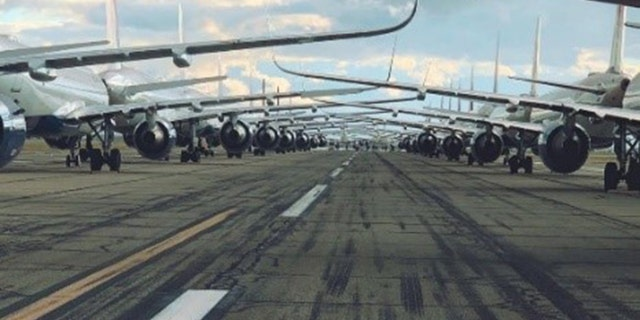 Planes parked for storage are pictured at the Victorville, California, lot. (Courtesy of Delta Air Lines)