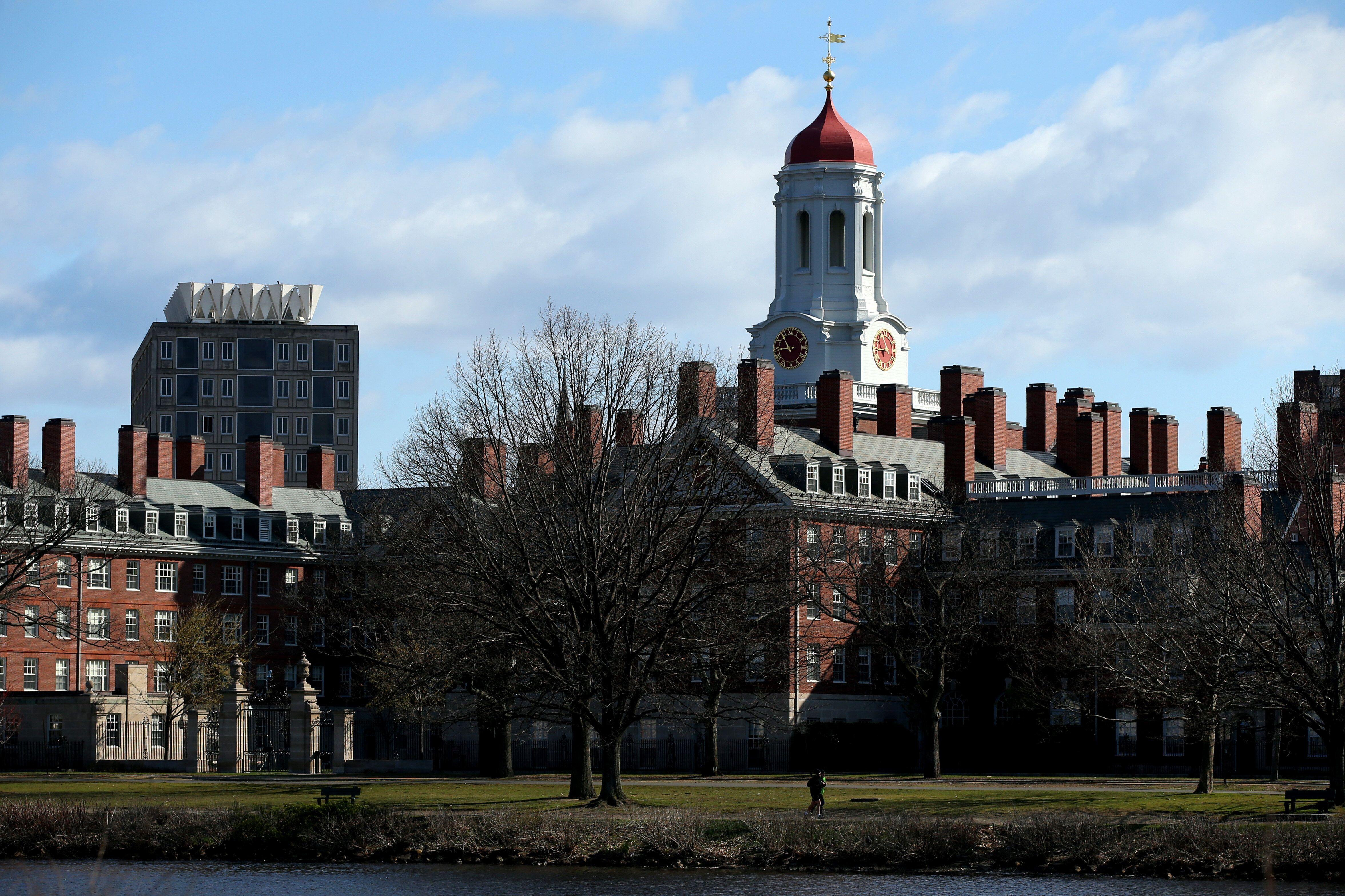 CAMBRIDGE, MASSACHUSETTS - APRIL 22: A general view of Harvard University campus is seen on April 22, 2020 in Cambridge, Mass